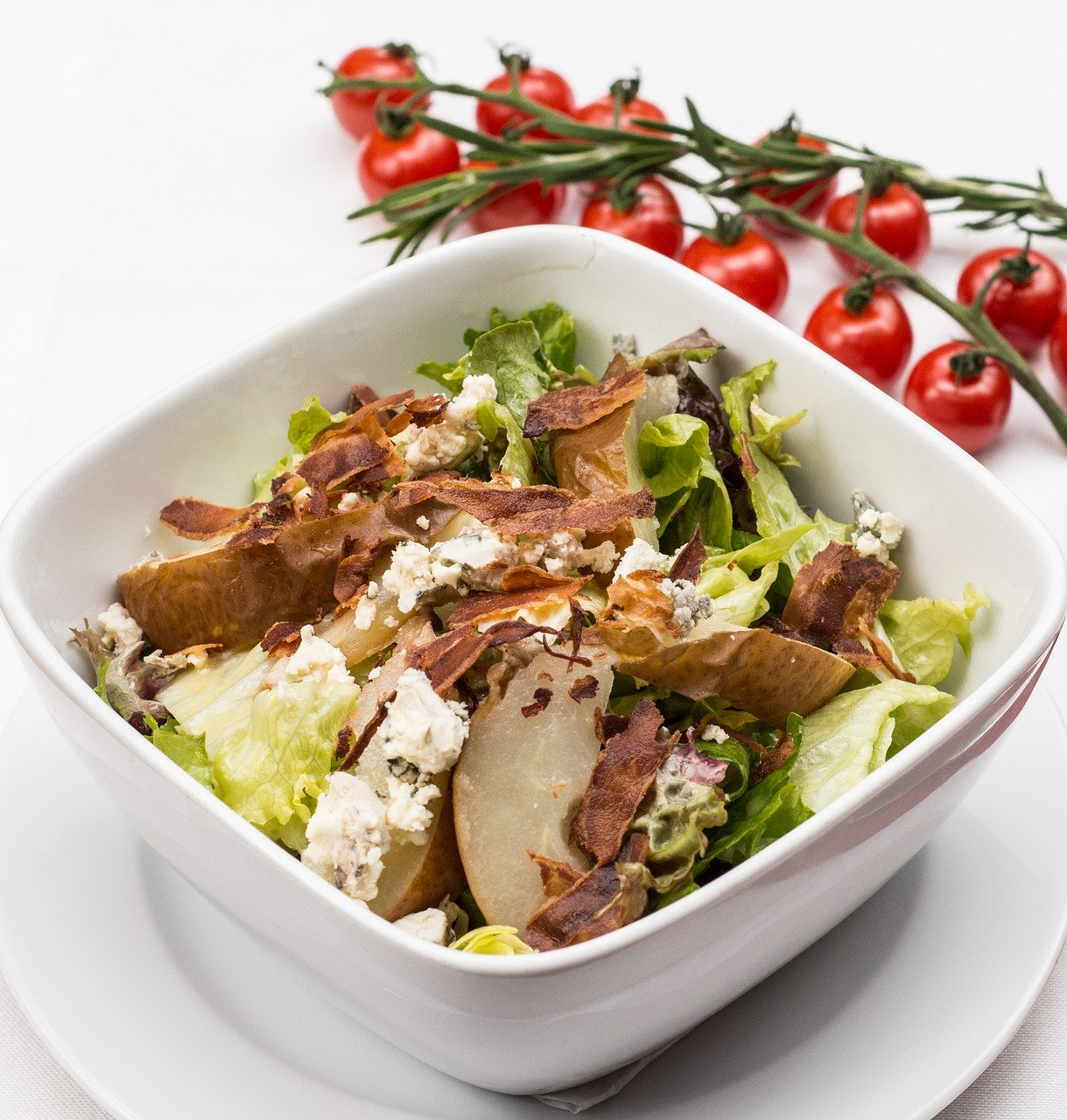 italian salad, chicken salad, vegetables